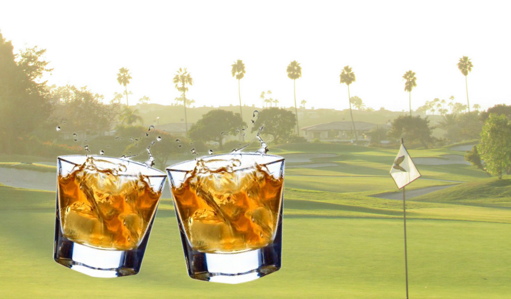 two glasses of scotch against a sunny day at the golf course